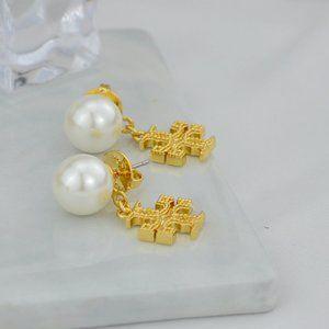 Tory Burch Embossed Pearl Stud Earrings